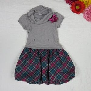Youngland Size 6 Gray Top Over Plaid Tartan Dress